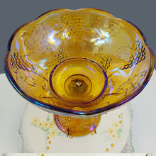 Indiana Glass Amber Carnival Glass Harvest Grape Pedestal Compote