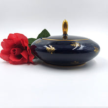 Echt Cobalt Blue and Gold Covered Candy Dish