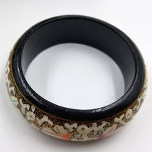 White Floral Black Lacquered Bangle with Colored Accents