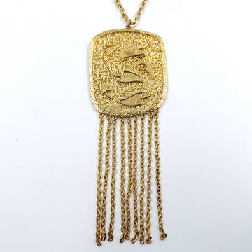 Openwork Dangle Gold Tone Over Sized Pendant