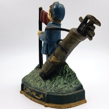 Vintage Large Painted Cast Iron Golfer Door Stop