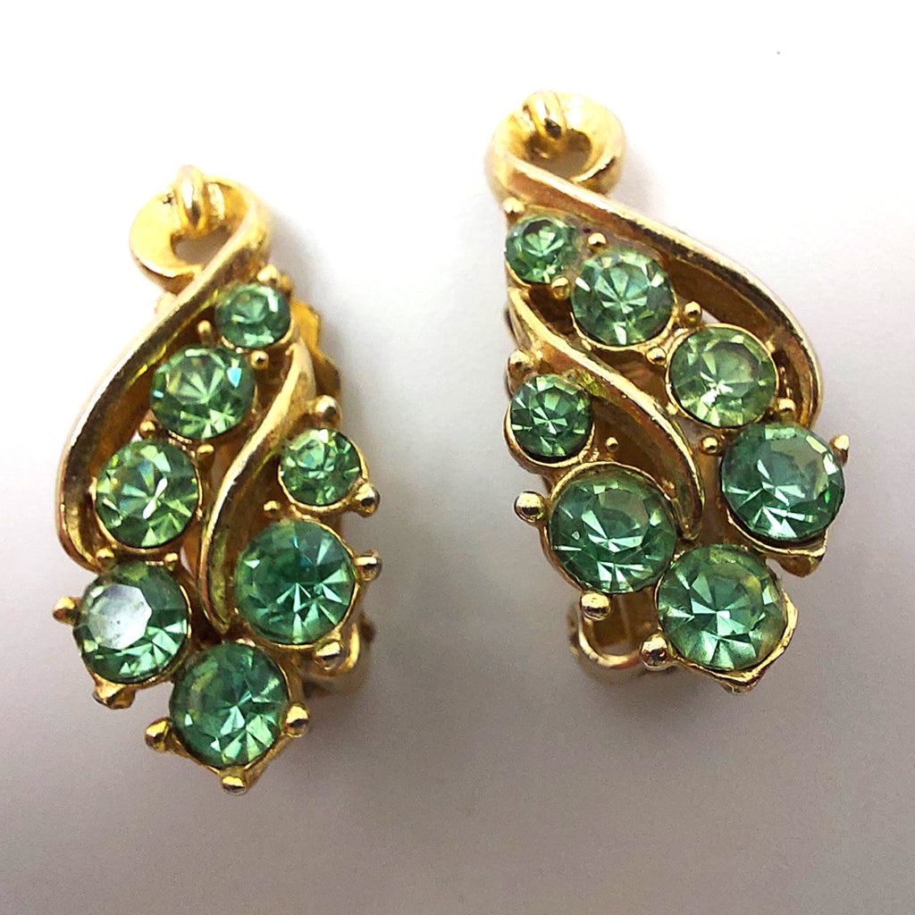 Green and Clear Rhinestones Vintage Green Earrings Clip on Gold Tone
