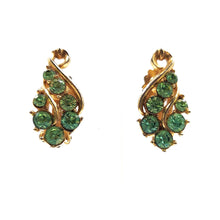 Vintage Green Rhinestone Clip On Earrings