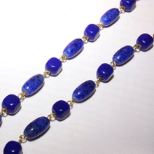 Sapphire Blue Glass Bead and Gold Tone Chain Necklace, Modern Long Beaded Necklace, Speckled Blue Bead, Oval and Square Beads, Cobalt Blue