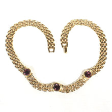Five Row Gold Tone Panther Chain Choker Necklace, Napier Purple Amethyst Woven Gold Flat Chain