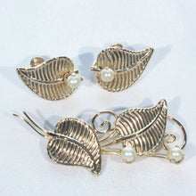 Dainty Gold Fill and Pearl Brooch and Earrings Jewelry Set, Berry and Leaf Pattern, Delicate and Feminine