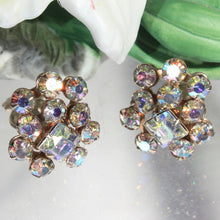Petite Mid Century AB Aurora Borealis Rhinestone Crystal Earrings, Formal, Dressup, Wedding, Bridal Jewelry, Party