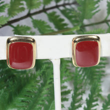 Dark Orange Carnelian Gold Tone Classic Earrings, Rectangle, Clip On