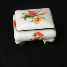Porcelain Ring Box, Ceramic Ring Casket, Orange Flower, Vanity, Dresser Decor, Trinket Box