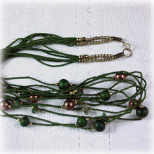 Modernist Olive Green Multi Strand Bamboo Bead Necklace, Abstract Contemporary Long Bead Necklace