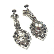 Mid Century White Rhinestone Dangle Earrings