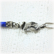 Sterling Silver Eagle and Blue Stone Obelisk Pendant, Sterling Box Chain, Bird of Prey, Southwest