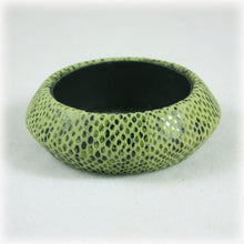 Chunky Wide Green Suede Snake Skin Bangle,  Snakeskin Bracelet, Large Bangle, Moss Green, Olive Green Bangle
