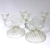 Iris and Herringbone Jeannette Glass Double Candle Holders, Candlesticks