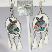 Silver and White Dangle Pierced Earrings, Inlaid Abalone Shell, Mexico Silver Alpaca, Hippie, Boho, Fun Summer Earrings