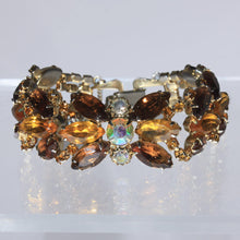 Impressive Topaz and Amber Crystal Rhinestone Statement Bracelet, Clip on Earrings, Two Tone Golden Navette Stones