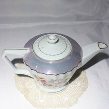 Lusterware Small Teapot, White with Floral Motif and Gold Trim
