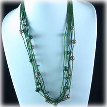 Olive Green Multi Strand Bamboo Bead Necklace