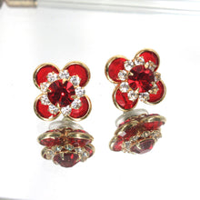 Ruby Red Crystal Earrings, Gold Red Flower, Red Rhinestone Earrings, Red Crystal Flower Stud, Vintage Jewelry, Vintage Earrings