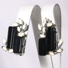 Classic Black and White Abstract Earrings, Mid Century Cubist With Leaf Flair, Dressup Crystal and Enamel Earrings