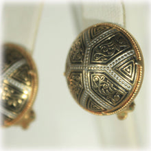 Enamel Gold Tone Button Earrings, Toledoware Style, Damascene Style, Silver Gold Black, 1970S
