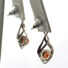 Sterling Silver and Amber Pierced Earrings, Modernist, Drop Earrings, Modern