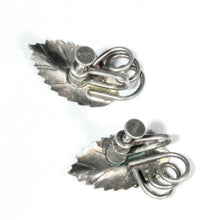 Sterling Silver Leaf Earrings, Serrated Leaf With Tendrils, Petite, Mid Century Classic Jewelry