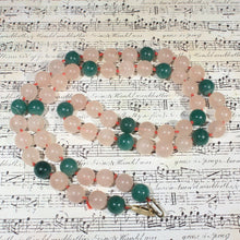 Rose Quartz and Jadeite Bead Necklace, Polished Stone Beads, Green Jade, Rose Pink Quartz, Vintage