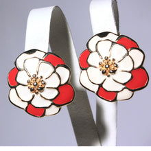 Red and White Enamel Flower Clip On Earrings