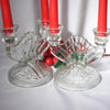 Iris and Herringbone Jeannette Glass Double Candle Holders