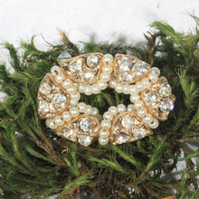 Small Gold Tone Oval Crystal Rhinestone Wreath Brooch Wrapped in Pearl Strand, Vintage Pin
