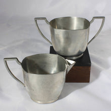 Art Deco Pewter Cream and Sugar Set, Silver Metal Creamer and Sugar, Tea Time