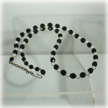 Classic Black and White Glass Faceted Bead and Faux Pearl Necklace, Single Strand