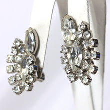 Large White Crystal Rhinestone Clip on Earrings, Wedding, Bridal Jewelry, Formal Earrings, Formal, Dressup