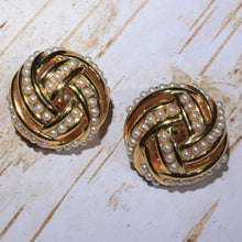 Large Gold Tone Seed Pearl Clip on Earrings, Woven, Domed Button