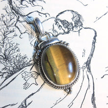 Sterling Silver Pendant with Large Oval Tigers Eye Cabochon