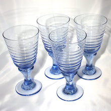 Set of 4 Libbey Glass in Optic Blue, Blue Sirrus, Ribbed Wine Glass in Ice Blue, Barware
