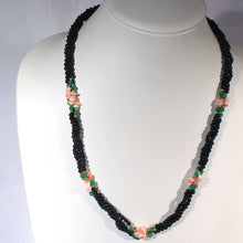 Twisted Multi Strand Black Bead Necklace, Coral Chip Beads, Green Accents, South Seas, Tropical