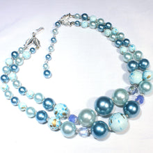Soft Shades of Blue Multi Strand Confetti Bead Necklace, Aqua Blue Splatter Bead
