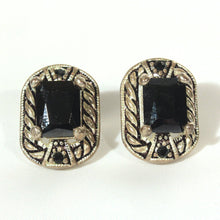 Silverplate Earrings with Rectangle Black Faceted Stone, Southwest Style Earrings, Silver Black Earrings