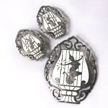 Siam Sterling Silver Brooch and Earrings Jewelry Set, Asian White Lyre Design, Mekhala, Dancing Goddess, Exotic Jewelry