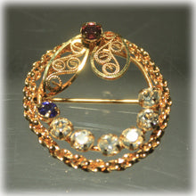 Gold Fill Filigree Jeweled Wreath Brooch, Amethyst, Blue Spinel, Mothers Brooch, Grandmothers Brooch, Bragging, Childrens Birth Stones