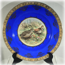 STW Wachtersbach Cobalt Blue with Gold Trim Woodcock Birds Plate, Bavaria China 1920s