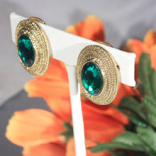 Emerald Green Oval Faceted Stone Earrings Set in Gold Tone Twisted Rope Setting, Classy Formal Wear Earrings, Elegant