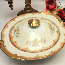 Kikusui Porcelain Fine China Covered Serving Bowl / Burgundy Red / Gold Trim