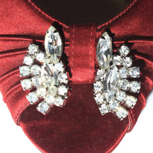 Large White Crystal Rhinestone Clip on Earrings