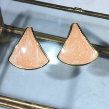 Signed Napier Frosted Peach Swirl Gold Tone Triangle Pierced Earrings, Modern Clean Lines, Spring Summer Jewelry, Geometric, Modernist
