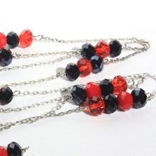 Long Red and Black Faceted Glass Beads, Mid Century Flapper Style