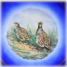 Early 1900s Schumann China Plate, Arzberg Germany, Royal Cobalt Blue With Gold Leaf, Quail Birds, Scenic Print, Transfer Print
