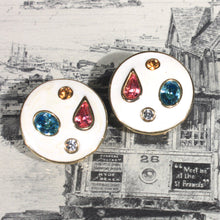 Perfect Summer Earrings / Round / White / Inlaid Colored Rhinestones